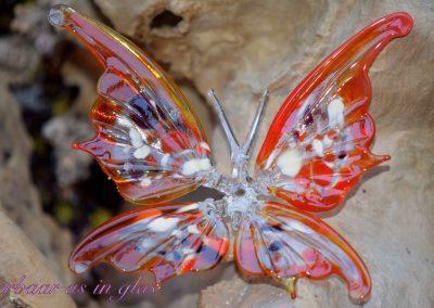 Unieke en met de hand getrokken glazen vlinder. De vlinder is geheel van glas, hoogte ongeveer 12 cm, breedte 15 cm. In het lijfje van de vlinder wordt crematie as met kristal heldere hars gelegd.Prijs van vlinder inclusief bewerking met crematie as is 129,95 euro. Deze foto laat een voorbeeld zien van een vlinder welke bewerkt is met as. Mocht u vragen hebben, mail me gerust,info@dierbaarasinglas.nl